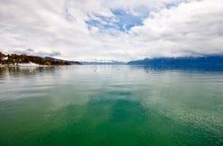 4日内瓦湖横向洛桑瑞士 免版税库存照片