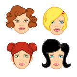 4根头发妇女 免版税库存图片