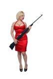 4美丽的白肤金发的军用步枪 免版税图库摄影