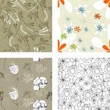 4花卉模式无缝的集 库存照片