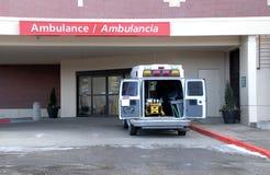 4辆救护车医院 库存照片