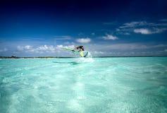 4风帆冲浪的博内尔岛 免版税图库摄影