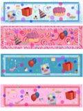 4 étiquettes assorties d'anniversaire/réception illustration libre de droits