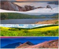 4 εποχές τοπίων που τίθενται Στοκ Εικόνα