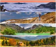 4 εποχές τοπίων που τίθενται Στοκ Εικόνες