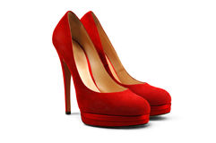 4 θηλυκά κόκκινα παπούτσια Στοκ Εικόνες