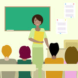 4 σπουδαστές που ακούνε έναν δάσκαλο διανυσματική απεικόνιση