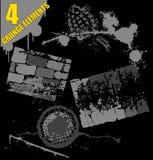 4 στοιχεία grunge θέτουν Στοκ Εικόνες