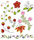 4 συρμένα λουλούδια δίνο&ups Στοκ φωτογραφία με δικαίωμα ελεύθερης χρήσης