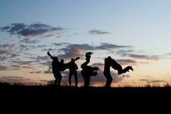 4 φίλοι που πηδούν τις σκι&alp Στοκ Εικόνες