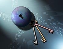 4 бинарных ключа глобуса к Стоковое Изображение