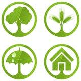 4 знака eco установленных Стоковое Изображение RF