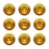 4 иконы золота кнопки установили сеть Стоковое Изображение