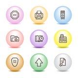 4 иконы цвета шарика установили сеть Стоковая Фотография RF