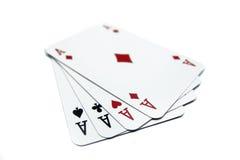 4 карточки тузов играя Стоковые Фотографии RF