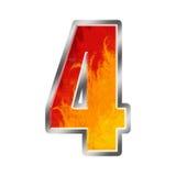 4 номер пламен 4 алфавита иллюстрация штока