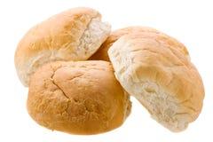 4 плюшки хлеба изолированной на белизне Стоковые Изображения RF
