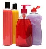 4 покрашенных пластичных бутылки Стоковое фото RF