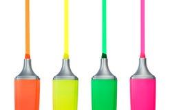 4 ручки Highlighter Стоковые Изображения RF