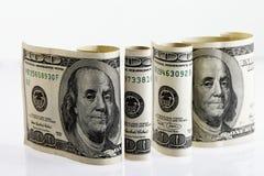 4 свернули 100 счетов доллара 2 Стоковые Изображения RF