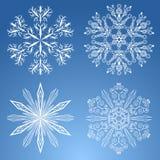 4 снежинки Стоковые Изображения