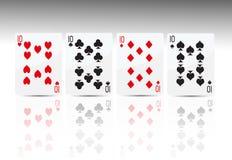 4 10 покера карточки Стоковые Изображения