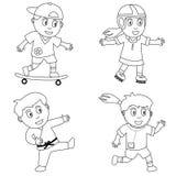 4个上色孩子体育运动 库存图片
