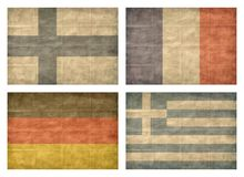 4/13 Flags of European countries. Vintage collection of european country flags isolated on white background. Finland, France, Germany, Greece royalty free illustration