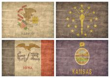 4/13 US state flags. Retro US state flags isolated on white background Royalty Free Stock Image