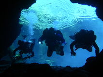 测试水中的4个洞 库存图片