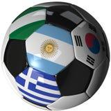 4 2010 b-boll flags gruppen över fotbollwhite Arkivfoton