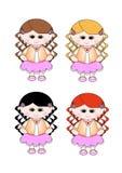 4片卷曲逗人喜爱的女孩头发小的桃红色树荫裙子 免版税图库摄影