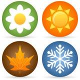 4 иконы сезонов Стоковые Изображения