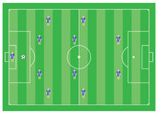 4-4-2 esquema del fútbol Imagen de archivo