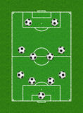 4-4-2 Soccer Formation. Illustration of 4-4-2 Soccer Formation on Field - Aerial View Stock Photography