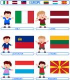 4 малыша флагов европы Стоковое Изображение RF