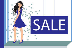 4 x 6 postcard: fashion sale. A fashion sale design originally created to be printed as a 4 x 6 postcard.  Vector format is also available so objects can be Stock Photo