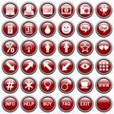 сеть 4 кнопок красная круглая Стоковые Изображения RF