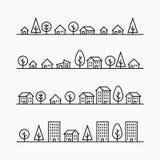 概述大厦和树在线, 4个不同样式 库存图片