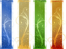 4 Abstract grunge banners with floral design eleme Royalty Free Stock Image