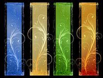 4 Abstract grunge banners with floral design eleme. Grunge banners in 4 different color schemes. Floral design elements. Linear gradients, global colors. Artwork Royalty Free Stock Images