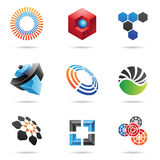 4 abstrakt färgrika symboler ställde in olikt Royaltyfri Bild