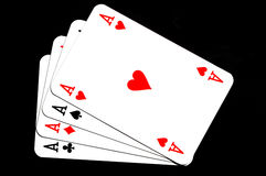 4 aces. Four aces isolaten on black background Stock Images