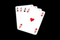 4 aces. Four aces isolaten on black background Stock Image