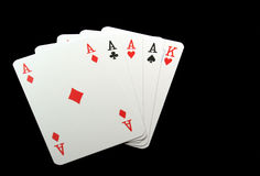 4 aces. Four aces an a king - a good hand royalty free stock photo