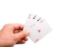4 aces in a hand Royalty Free Stock Images