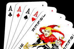4 aces and joker royalty free stock photo