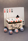 4 aces playing cards and dice box Stock Images