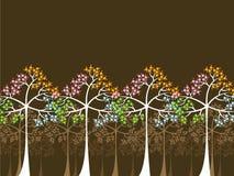 4 alberi di stagioni su colore marrone Fotografia Stock Libera da Diritti