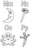 4 alfabetfärgläggningungar Royaltyfria Foton